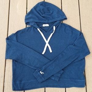 Hollister Navy Blue Cropped Hoodie Sweatshirt